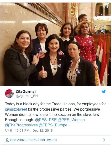 Twitter post by @zgurmai_EN: Today is a black day for the Trade Unions, for employees for ⁦@mszptweet⁩ for the progressive parties. We porgressive Women didn't allow to start the seccion on the slave law. Enough  enough. ⁦@PES_PSE⁩ ⁦@PES_Women⁩ ⁦@TheProgressives⁩ ⁦@FEPS_Europe⁩