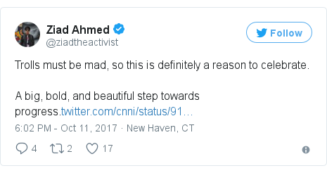 Twitter post by @ziadtheactivist: Trolls must be mad, so this is definitely a reason to celebrate.A big, bold, and beautiful step towards progress.https //t.co/m9V976MOCj