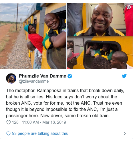 Twitter post by @zilevandamme: The metaphor. Ramaphosa in trains that break down daily, but he is all smiles. His face says don't worry about the broken ANC, vote for for me, not the ANC. Trust me even though it is beyond impossible to fix the ANC, I'm just a passenger here. New driver, same broken old train.
