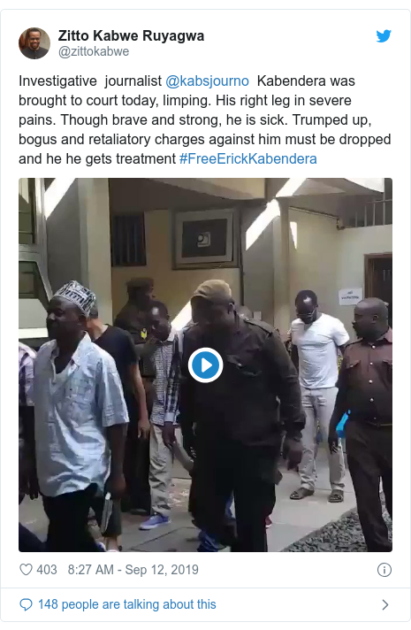 Twitter post by @zittokabwe: Investigative  journalist @kabsjourno  Kabendera was brought to court today, limping. His right leg in severe pains. Though brave and strong, he is sick. Trumped up, bogus and retaliatory charges against him must be dropped and he he gets treatment #FreeErickKabendera
