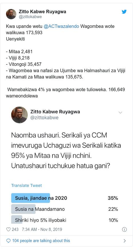 Ujumbe wa Twitter wa @zittokabwe: Kwa upande wetu @ACTwazalendo Wagombea wote walikuwa 173,593Uenyekiti - Mitaa 2,481- Vijiji 8,218- Vitongoji 35,457 - Wagombea wa nafasi za Ujumbe wa Halmashauri za Vijiji na Kamati za Mtaa walikuwa 135,675.  Wamebakizwa 4% ya wagombea wote tulioweka. 166,649 wameondolewa