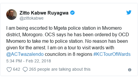 Ujumbe wa Twitter wa @zittokabwe: I am being escorted to Mgeta police station in Mvomero district, Morogoro. OCS says he has been ordered by OCD Mvomero to take me to police station. No reason has been given for the arrest. I am on a tour to visit wards with @ACTwazalendo councilors in 8 regions #KCTourOfWards
