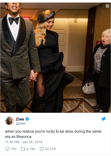 Twitter post by @ziwe: when you realize you're lucky to be alive during the same era as Beyonce