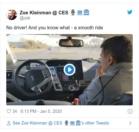 Twitter post by @zsk: No driver! And you know what - a smooth ride
