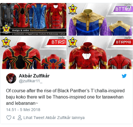Twitter pesan oleh @zulfikar11_: Of course after the rise of Black Panther's T'challa-inspired baju koko there will be Thanos-inspired one for tarawehan and lebaranan~