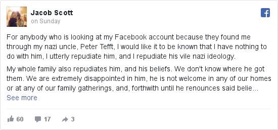 Jacob tarafından yapılan Facebook paylaşımı