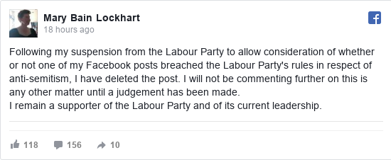 Facebook post by Mary: Following my suspension from the Labour Party to allow consideration of whether or not one of my Facebook posts breached...