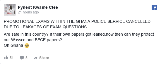 Facebook post by Fynest: PROMOTIONAL EXAMS WITHIN THE GHANA POLICE SERVICE CANCELLED DUE TO LEAKAGES OF EXAM QUESTIONS.   Are safe in this...