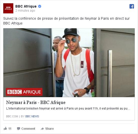 Facebook publication par BBC Afrique