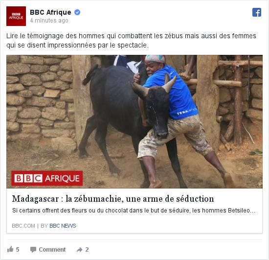 Facebook publication par BBC Afrique: Lire le témoignage des hommes qui combattent les zébus mais aussi des femmes qui se disent impressionnées par le spectacle.