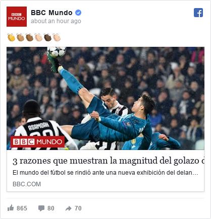 Publicación de Facebook por BBC Mundo: 👏👏🏽👏🏾👏🏼👏🏿👏🏻
