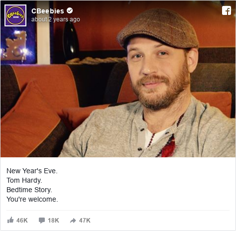 Facebook post by CBeebies: New Year's Eve.  Tom Hardy.  Bedtime Story.  You're welcome.
