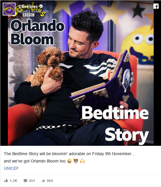 Facebook post by CBeebies: The Bedtime Story will be bloomin' adorable on Friday 9th November...  and we've got Orlando Bloom too 😜 🐶 🙌  UNICEF