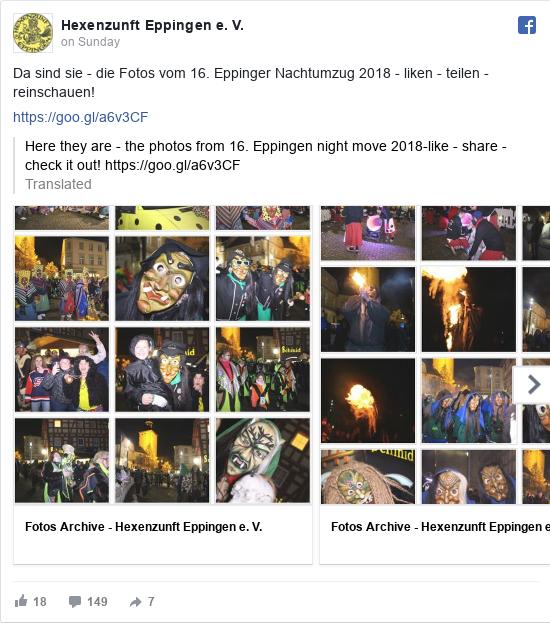 Facebook post by Hexenzunft Eppingen e. V.: Da sind sie - die Fotos vom 16. Eppinger Nachtumzug 2018 - liken - teilen - reinschauen!  https //goo.gl/a6v3CF
