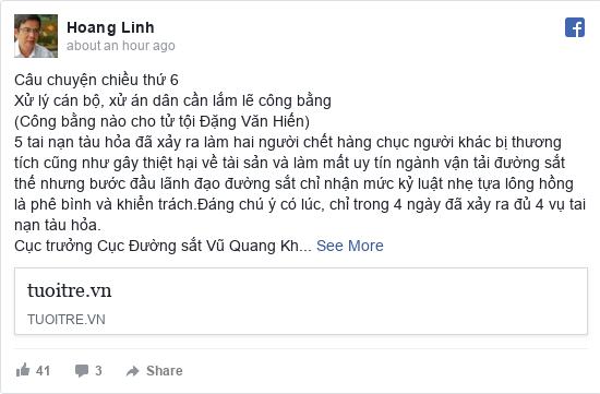 Facebook bởi Hoang: Câu chuyện chiều thứ 6 Xử lý cán bộ, xử án dân cần lắm lẽ công bằng (Công bằng nào cho tử tội Đặng Văn Hiến) 5 tai nạn...