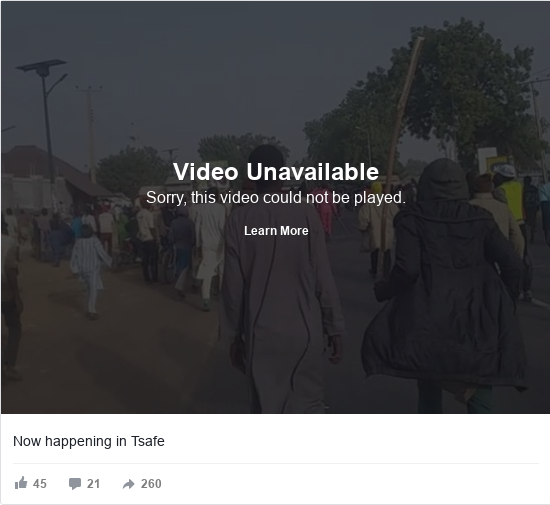 Facebook post by Abubakar: Now happening in Tsafe