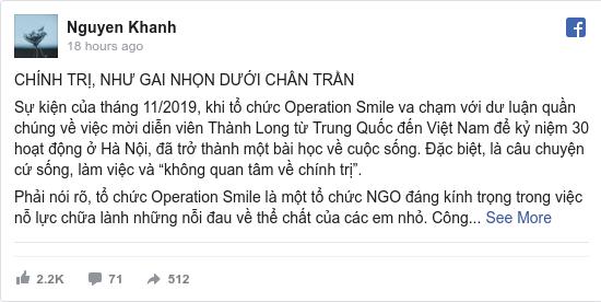 Facebook bởi Khanh: CHÍNH TRỊ, NHƯ GAI NHỌN DƯỚI CHÂN TRẦN  Sự kiện của tháng 11/2019, khi tổ chức Operation Smile va chạm với dư luận quần...