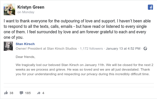 Facebook post by Kristyn: I want to thank everyone for the outpouring of love and support. I haven't been able to respond to all the texts, calls,...