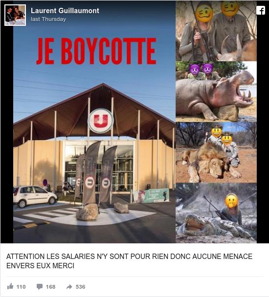 Facebook post by Laurent: ATTENTION LES SALARIES N'Y SONT POUR RIEN DONC AUCUNE MENACE ENVERS EUX MERCI