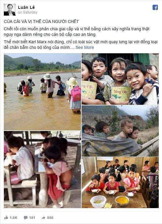 Facebook bởi Luân: CỦA CẢI VÀ VỊ THẾ CỦA NGƯỜI CHẾT  Chết rồi còn muốn phân chia giai cấp và vị thế bằng cách xây nghĩa trang thật nguy nga...