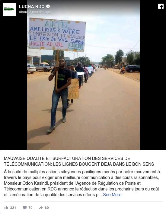 Facebook post by LUCHA RDC: MAUVAISE QUALITÉ ET SURFACTURATION DES SERVICES DE TÉLÉCOMMUNICATION  LES LIGNES BOUGENT DEJA DANS LE BON SENS   À la...
