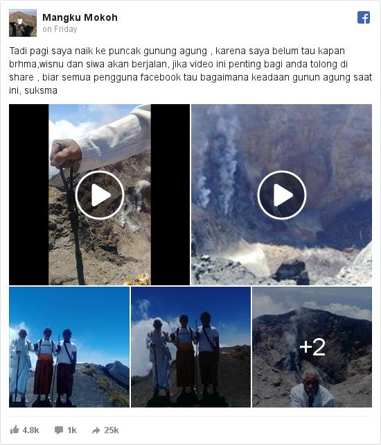 Facebook pesan oleh Mangku: Tadi pagi saya naik ke puncak gunung agung , karena saya belum tau kapan brhma,wisnu dan siwa akan berjalan, jika video...