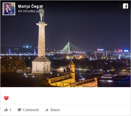 Facebook post by Marija: ❤