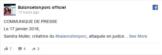 Facebook post by Balancetonporc officiel: COMMUNIQUE DE PRESSE   Le 17 janvier 2018,  Sandra Muller, créatrice du #balancetonporc, attaquée en justice  Dans le...