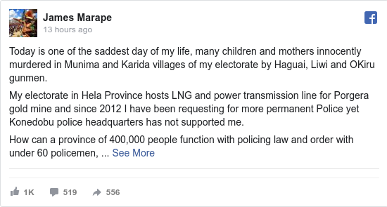Facebook post by James: Today is one of the saddest day of my life, many children and mothers innocently murdered in Munima and Karida villages...