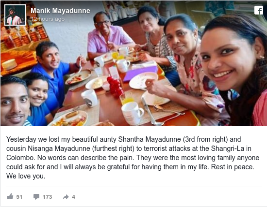 Publicación de Facebook por Manik: Yesterday we lost my beautiful aunty Shantha Mayadunne (3rd from right) and cousin Nisanga Mayadunne (furthest right) to...