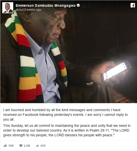 Facebook post by Emmerson Dambudzo Mnangagwa: I am touched and humbled by all the kind messages and comments I have received on Facebook following yesterday's events....