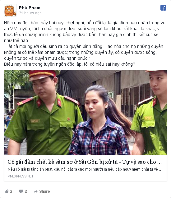 Facebook bởi Phú: Hôm nay đọc báo thấy bài này, chợt nghĩ, nếu đổi lại là gia đình nạn nhân trong vụ án V.V.Luyện, tôi tin chắc người dưới...