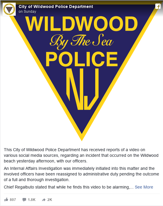 Facebook post by City of Wildwood Police Department: This City of Wildwood Police Department has received reports of a video on various social media sources, regarding an...