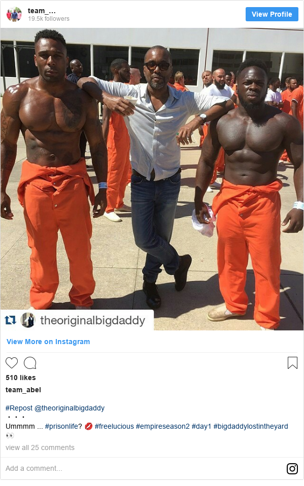 Instagram post by team_abel: #Repost @theoriginalbigdaddy ・・・ Ummmm ... #prisonlife? 💋 #freelucious #empireseason2 #day1 #bigdaddylostintheyard 👀