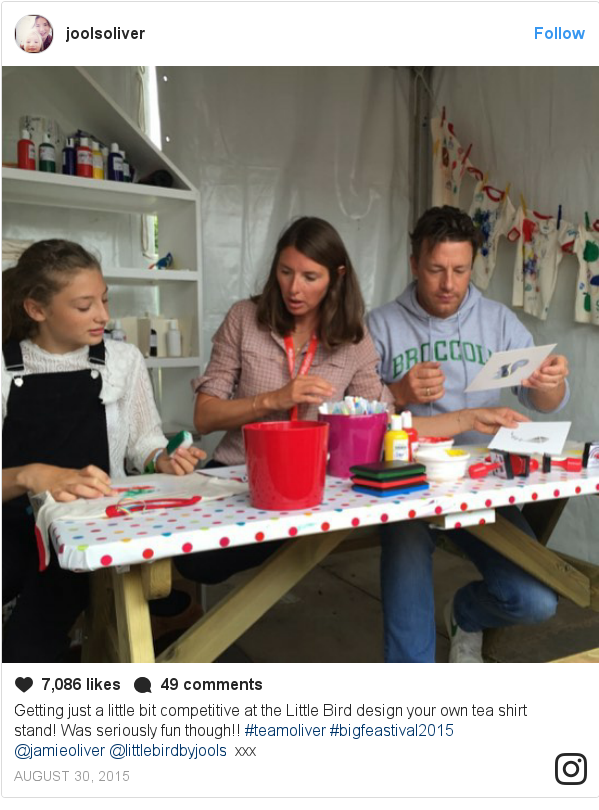 Instagram post by joolsoliver: Getting just a little bit competitive at the Little Bird design your own tea shirt stand! Was seriously fun though!! #teamoliver #bigfeastival2015 @jamieoliver @littlebirdbyjools 🎨 xxx