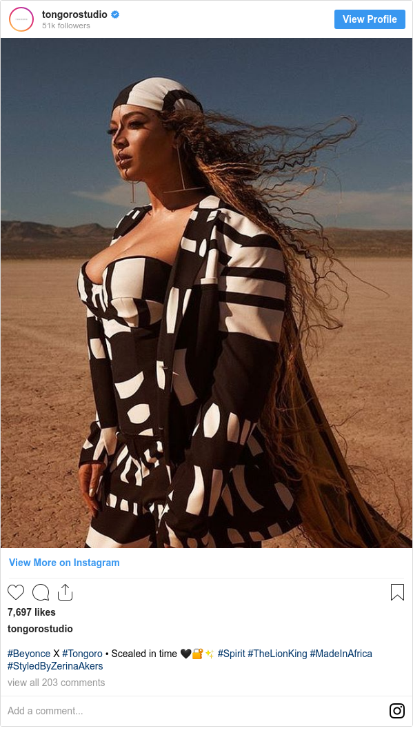Instagram post by tongorostudio: #Beyonce X #Tongoro • Scealed in time 🖤🔐✨ #Spirit #TheLionKing #MadeInAfrica #StyledByZerinaAkers