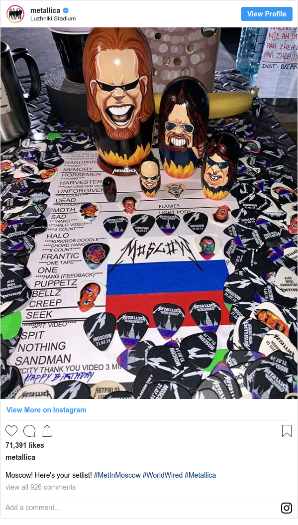Instagram пост, автор: metallica: Moscow! Here's your setlist! #MetInMoscow #WorldWired #Metallica