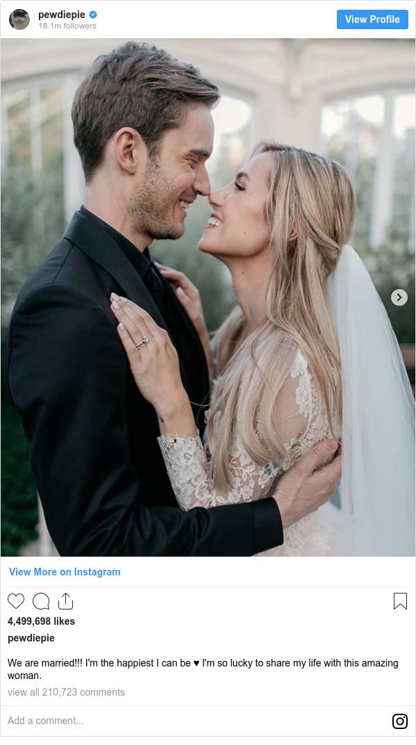 PewDiePie and Marzia Bisognin marry at Kew Gardens