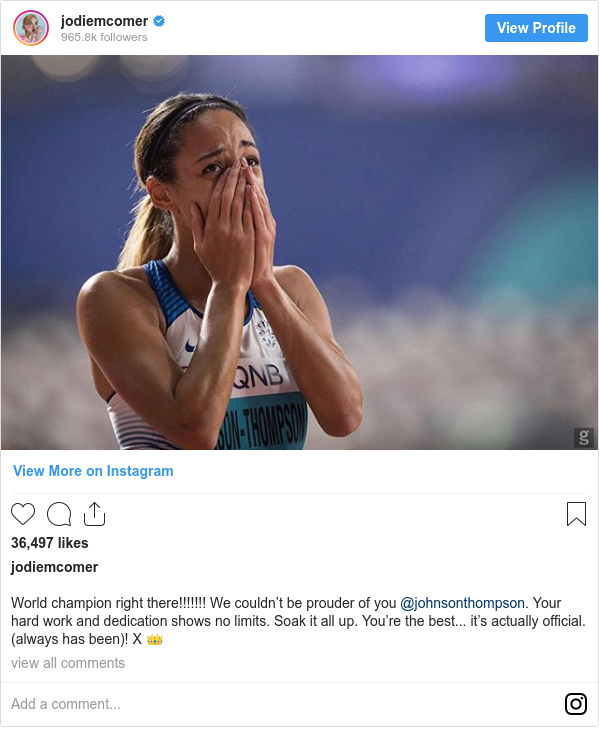 Instagram post by jodiemcomer: World champion right there!!!!!!! We couldn't be prouder of you @johnsonthompson. Your hard work and dedication shows no limits. Soak it all up. You're the best... it's actually official. (always has been)! X 👑