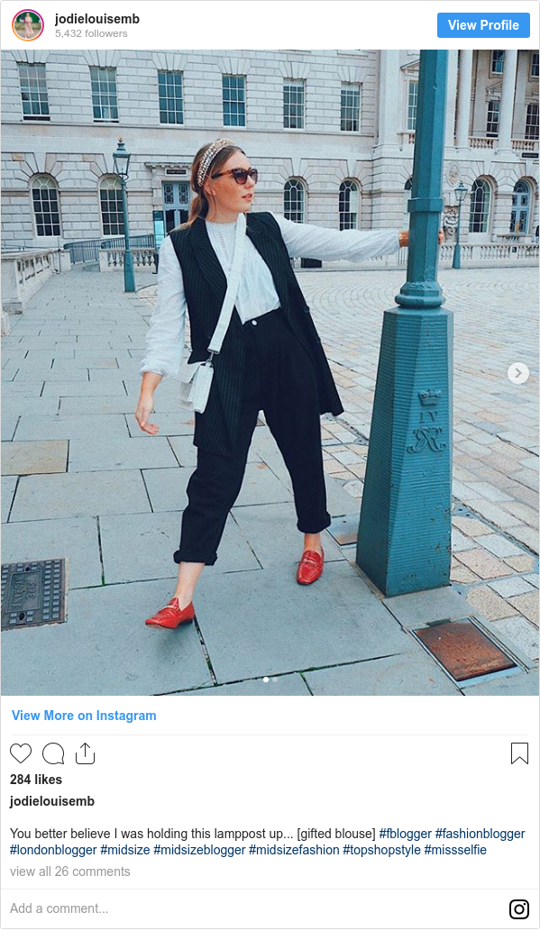 Instagram post by jodielouisemb: You better believe I was holding this lamppost up... [gifted blouse] #fblogger #fashionblogger #londonblogger #midsize #midsizeblogger #midsizefashion #topshopstyle #missselfie