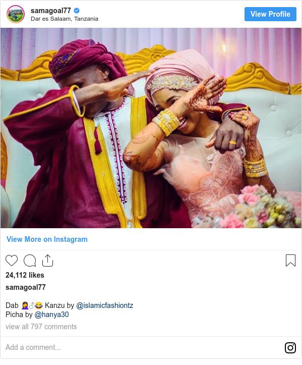 Ujumbe wa Instagram wa samagoal77: Dab 🤦♂️😂 Kanzu by @islamicfashiontz  Picha by @hanya30