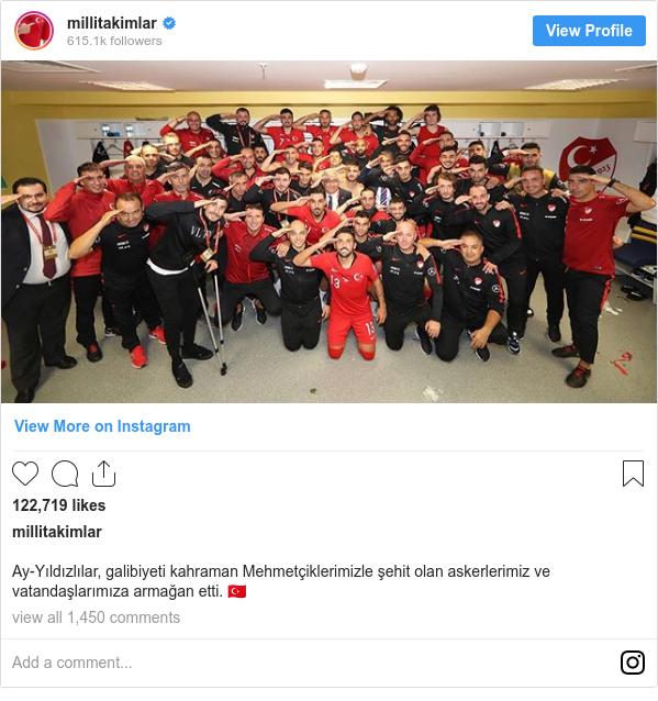 Instagram post by millitakimlar: Ay-Yıldızlılar, galibiyeti kahraman Mehmetçiklerimizle şehit olan askerlerimiz ve vatandaşlarımıza armağan etti. 🇹🇷