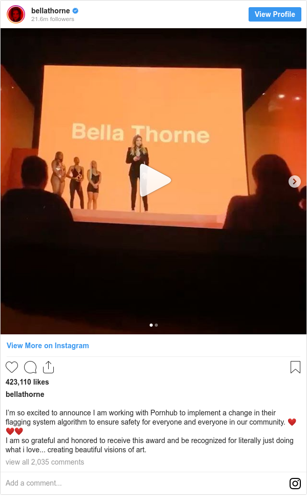 Instagram post by bellathorne: I'm so excited to announce I am working with Pornhub to implement a change in their flagging system algorithm to ensure safety for everyone and everyone in our community. ❤️❤️❤️ I am so grateful and honored to receive this award and be recognized for literally just doing what i love... creating beautiful visions of art.