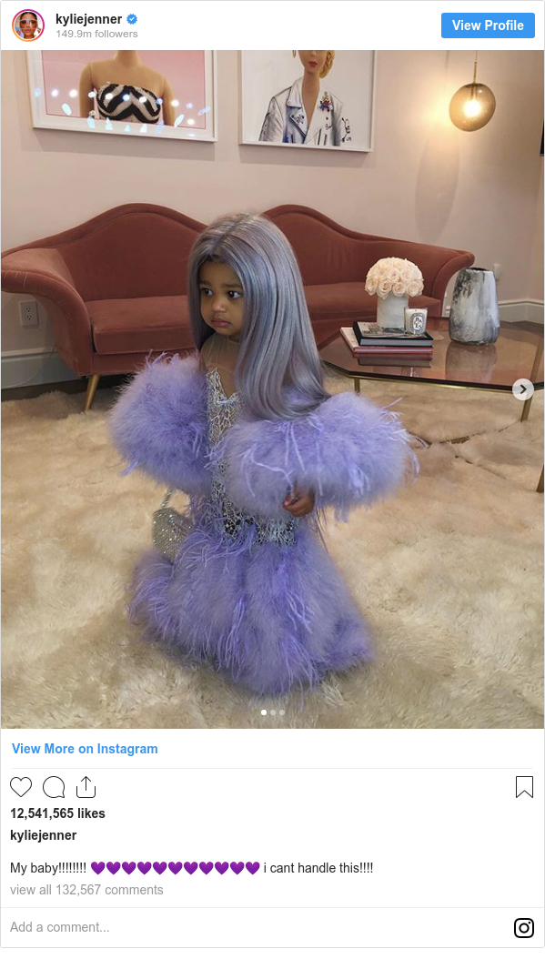 Instagram post by kyliejenner: My baby!!!!!!!! 💜💜💜💜💜💜💜💜💜💜💜 i cant handle this!!!!