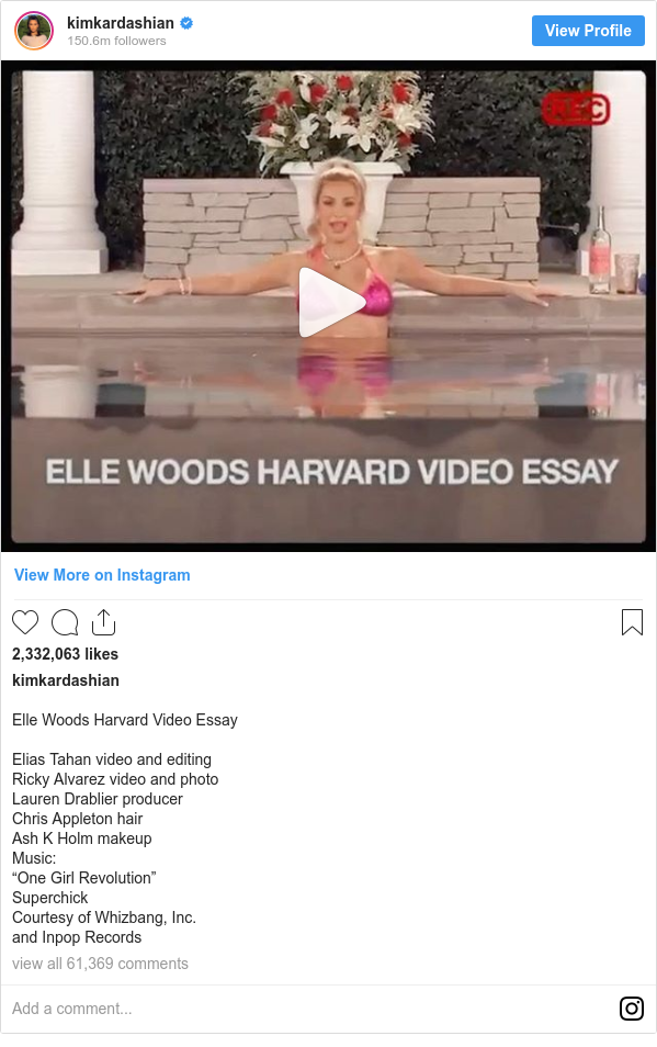 """Instagram post by kimkardashian: Elle Woods Harvard Video Essay  Elias Tahan video and editing  Ricky Alvarez video and photo Lauren Drablier producer Chris Appleton hair Ash K Holm makeup Music  """"One Girl Revolution"""" Superchick Courtesy of Whizbang, Inc. and Inpop Records"""