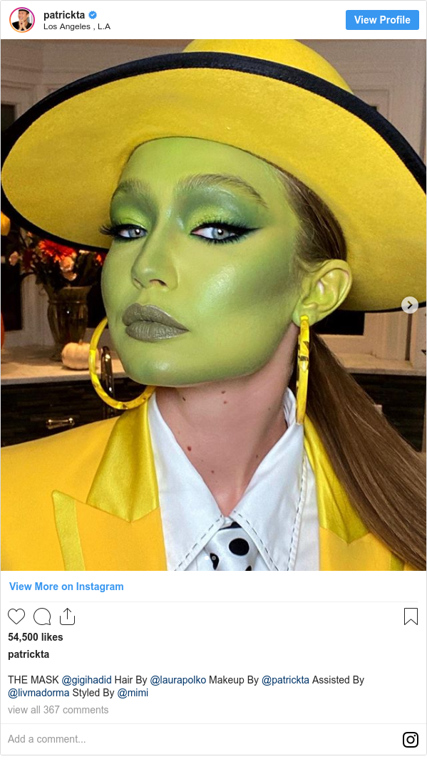 Instagram post by patrickta: THE MASK @gigihadid Hair By @laurapolko Makeup By @patrickta Assisted By @livmadorma Styled By @mimi
