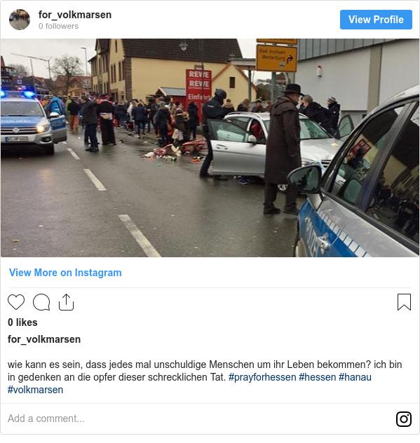 Instagram пост, автор: for_volkmarsen: wie kann es sein, dass jedes mal unschuldige Menschen um ihr Leben bekommen? ich bin in gedenken an die opfer dieser schrecklichen Tat. #prayforhessen #hessen #hanau #volkmarsen