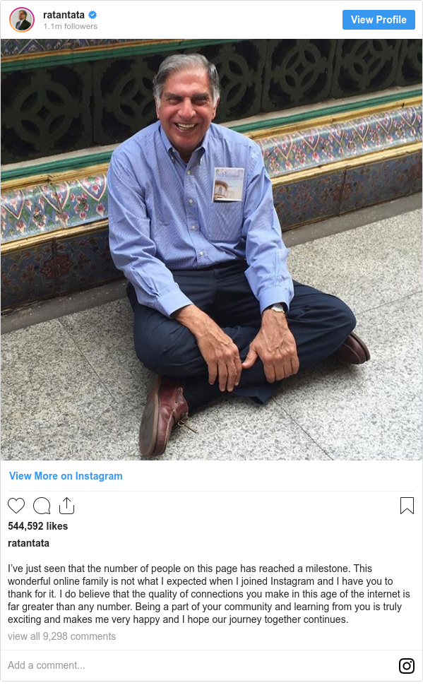 इंस्टाग्राम पोस्ट ratantata: I've just seen that the number of people on this page has reached a milestone. This wonderful online family is not what I expected when I joined Instagram and I have you to thank for it. I do believe that the quality of connections you make in this age of the internet is far greater than any number. Being a part of your community and learning from you is truly exciting and makes me very happy and I hope our journey together continues.