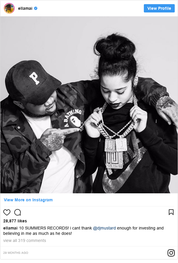 Instagram post by ellamai: 10 SUMMERS RECORDS!  i cant thank @djmustard enough for investing and believing in me as much as he does!