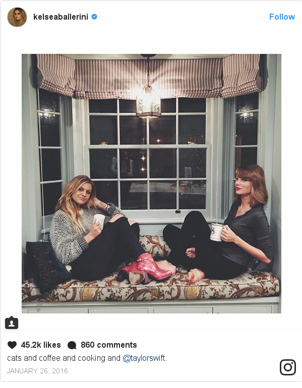 Instagram post by kelseaballerini: cats and coffee and cooking and @taylorswift.